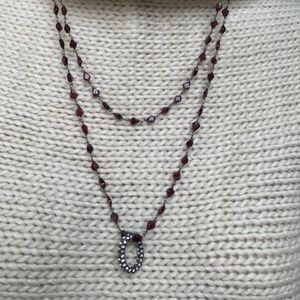 Jewelry - Single Strand Long Necklace Garnet and Crystal